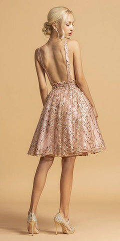 Embellished Open-Back Short Homecoming Dress Rose Gold