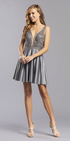 Fitted Glitter Sparkle Ruched Gown Champagne With Leg Slit And V-Neckline