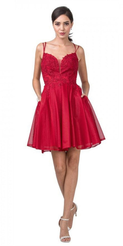 Aspeed Design S2318 Homecoming Short Dress Cut-Out Back with Pockets Burgundy