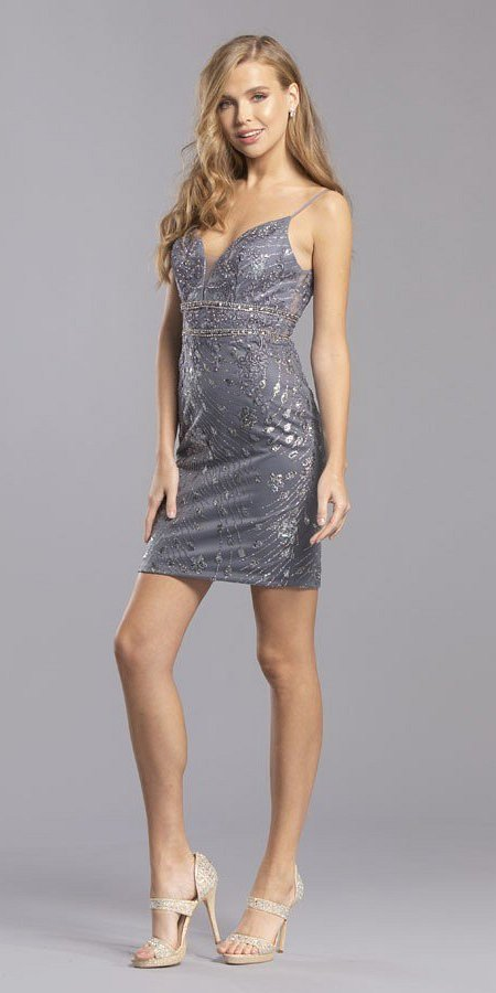 Charcoal Homecoming Short Dress Embroidered