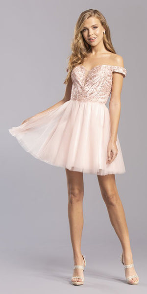 Blush Embellished Off-Shoulder Homecoming Short Dress