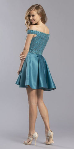 Off-the-Shoulder Homecoming Short Dress with Pockets Teal