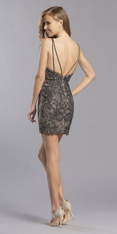 Beaded V-Neck Homecoming Short Dress Charcoal