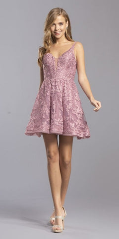 Mauve Appliqued Homecoming Short Dress Cut-Out Back