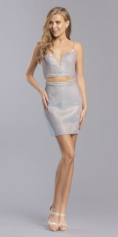 Light Blue Beaded Two-Piece Homecoming Short Dress