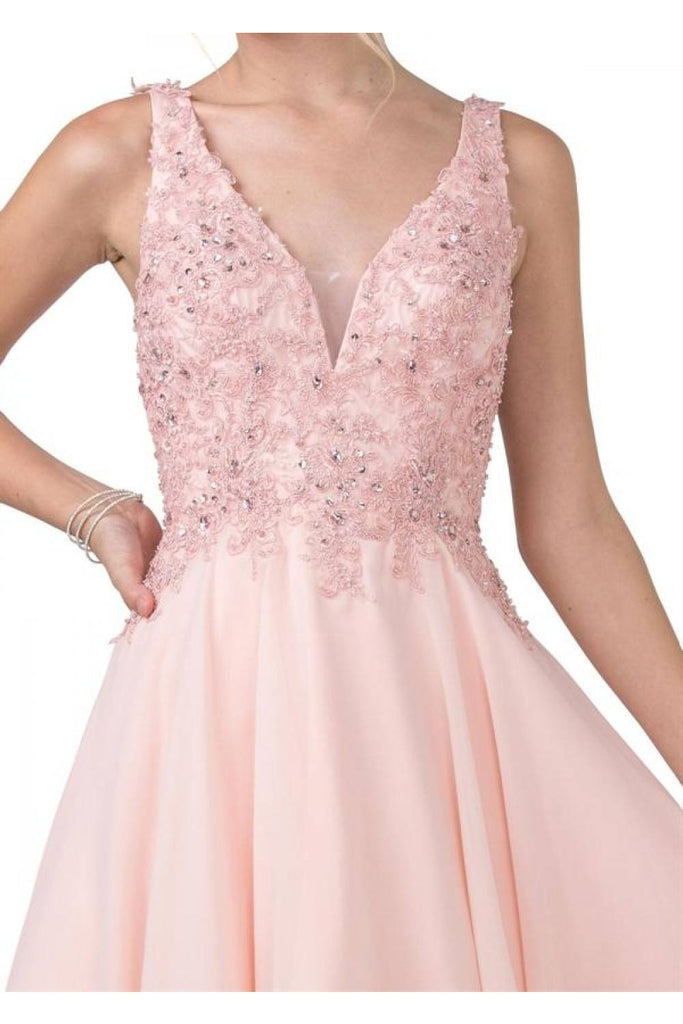 Aspeed S2331 Embroidered V-Neck Blush Short Party A-Line Dress