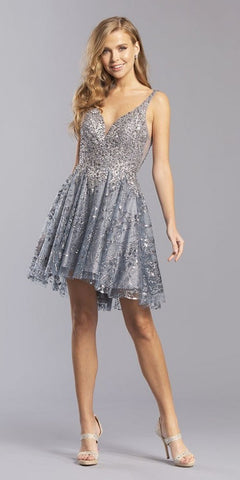 Charcoal Embellished Homecoming Short Dress V-Neck