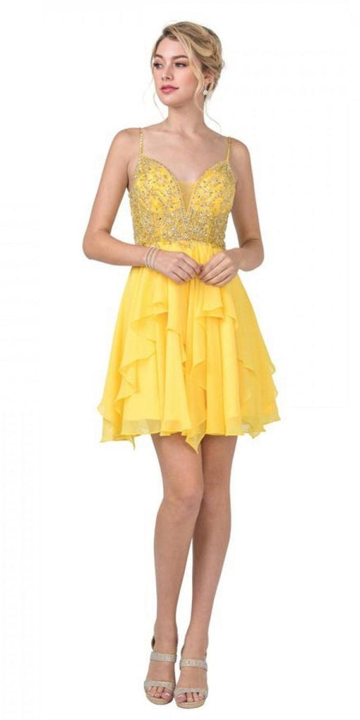 Aspeed S2334 Ruffled Skirt Beaded Top Yellow Short Party Dress