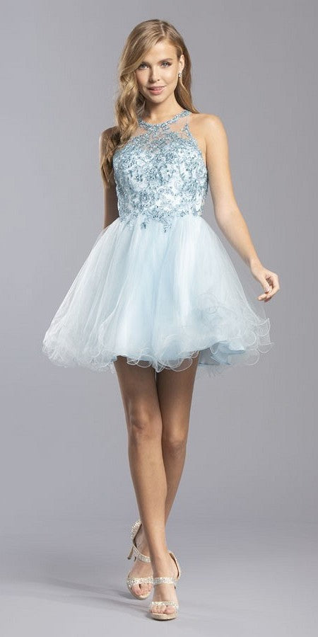 Baby Blue Appliqued Homecoming Short Dress Sleeveless