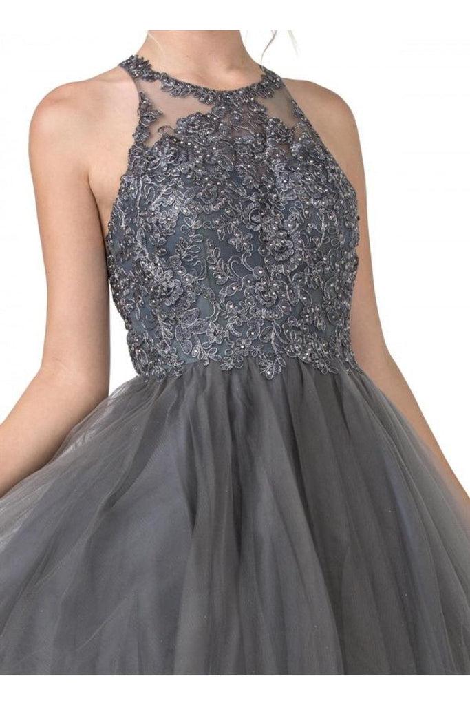 Aspeed Design S2334 Charcoal Appliqued Homecoming Short Dress Sleeveless