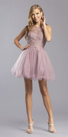 Mauve Appliqued Homecoming Short Dress Sleeveless