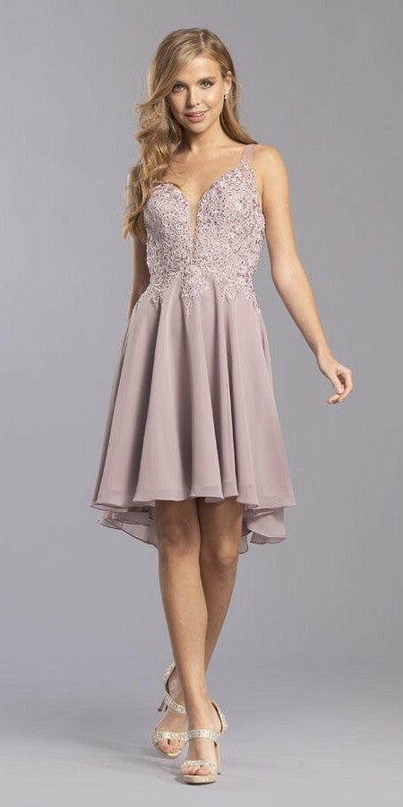 High and Low Homecoming Short Dress Mauve