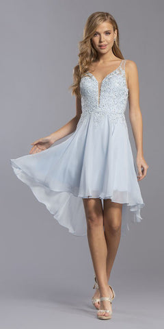 High and Low Homecoming Short Dress Sky Blue