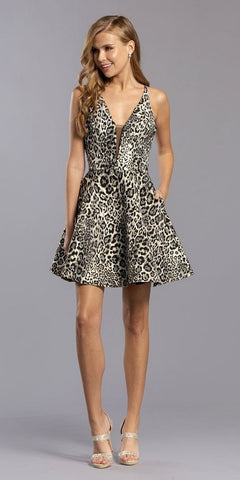 Black/Silver Leopard Print Homecoming Short Dress with Pockets