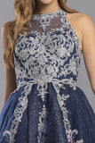 Navy Blue Homecoming Short Dress Illusion Back with Appliques