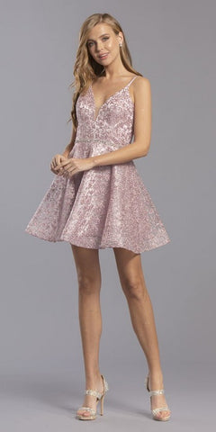 Cut-Out Back Mauve Homecoming Short Dress