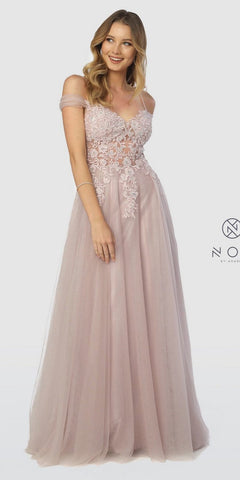 Mauve Off-Shoulder Appliqued Long Formal Dress Lace Up Back
