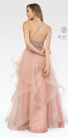 Rose Gold Halter Tiered Long Prom Dress Embroidered