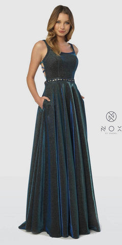 V-Neck and Back Gunmetal Prom Ball Gown with Pockets