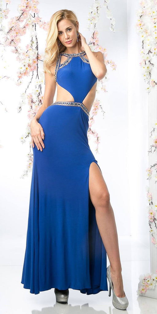 Cut-Out Open-Back Royal Blue Long Prom Dress