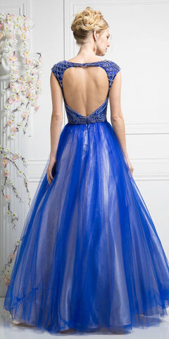 Royal Blue Prom Ball Gown with Cut-Out Bodice and Back