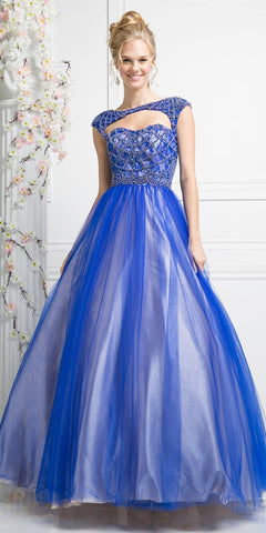 Sweetheart Neckline Strapless Prom Ball Gown Navy Blue