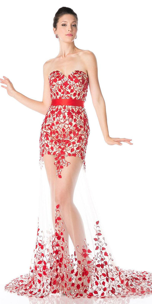 See-Through Red Strapless Long Prom Dress Appliqued