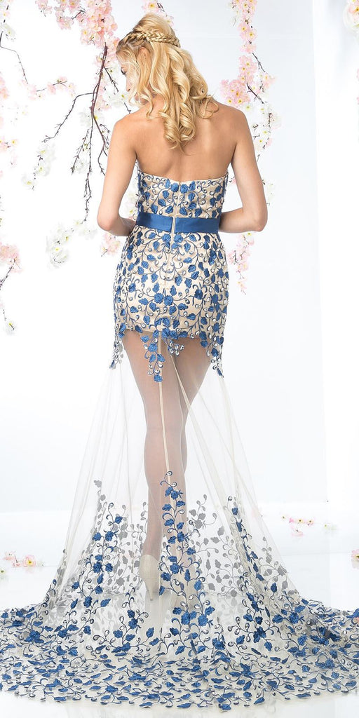 See-Through Royal Blue Strapless Long Prom Dress Appliqued