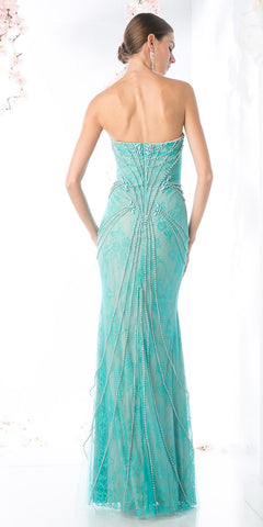 Lace Beaded Strapless Long Prom Dress Jade