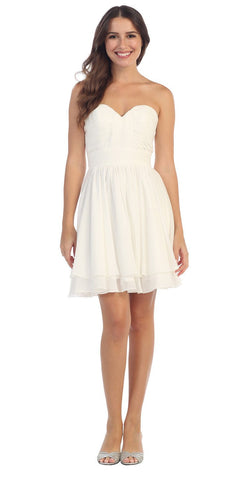 Starbox USA S6097 Sweetheart Neck Layered Hem Ruched Bodice Off White Short Bridesmaids Dress