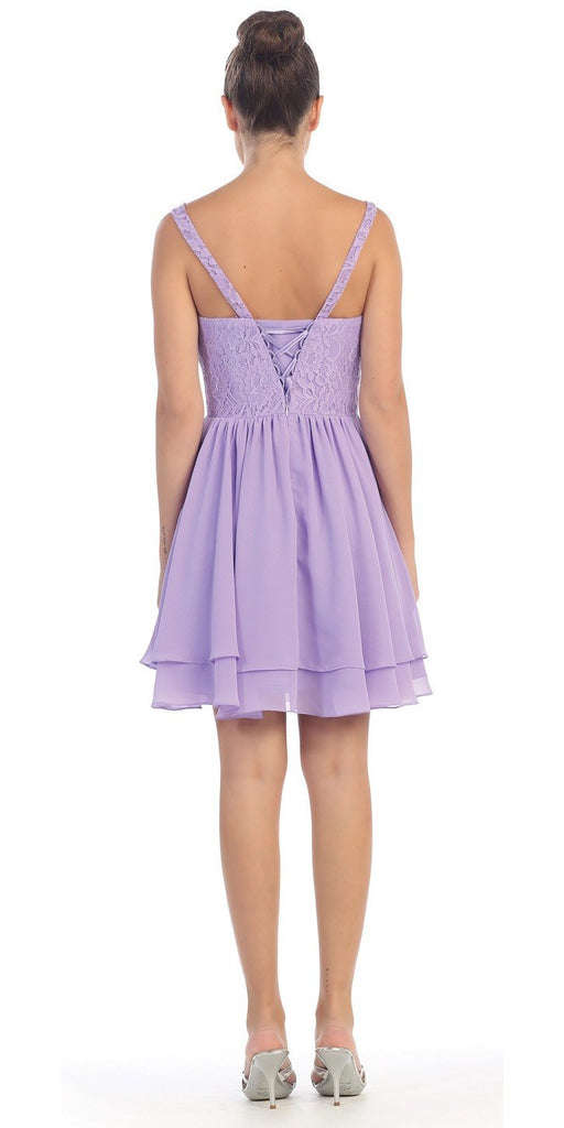 Starbox USA S6146 Sleeveless Bateau Neck Lace Bodice Short Bridesmaids Dress Lilac Back