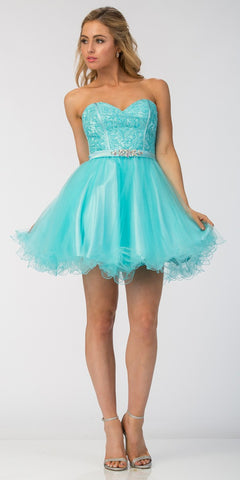 Starbox USA S6177 Lace Up Back Strapless Homecoming Dress Tiffany Blue