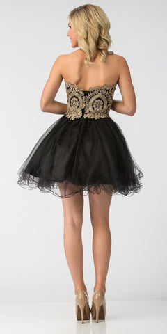 Starbox USA S6411 Strapless Neckline Applique Bodice Homecoming Dress Black/Gold