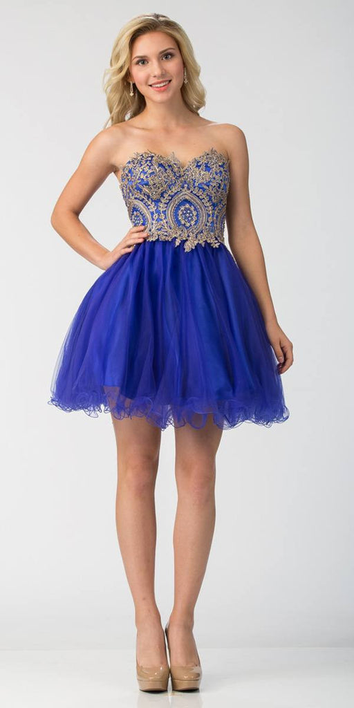 Starbox USA S6411 Strapless Neckline Applique Bodice Homecoming Dress Royal Blue/Gold