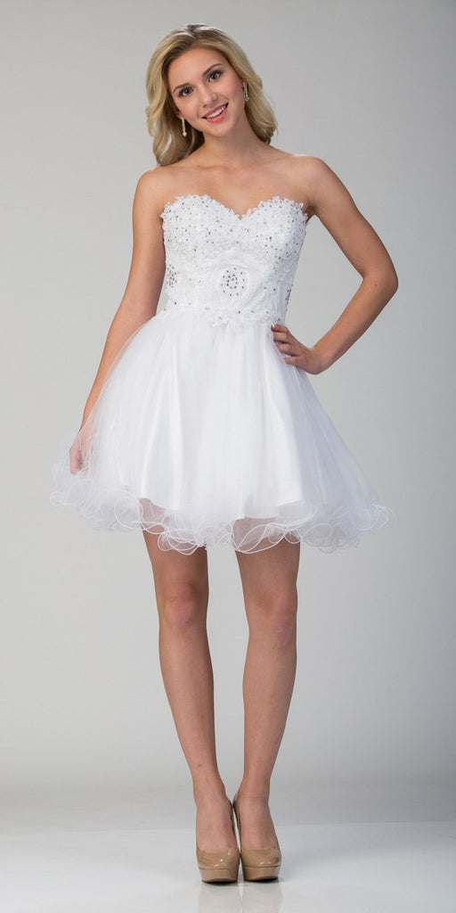 Starbox USA S6413 Strapless Poofy Homecoming Dress White Sweetheart Neckline