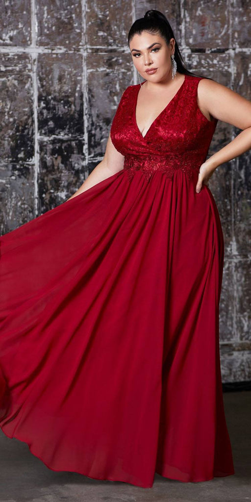 Cinderella Divine S7201 Long A-Line Chiffon Dress Burgundy Lace Bodice Center Back Zipper