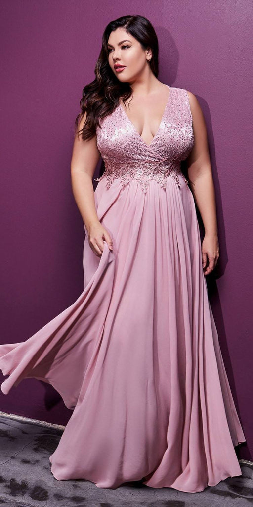 Cinderella Divine S7201 Long A-Line Chiffon Dress Dusty Rose Lace Bodice Center Back Zipper