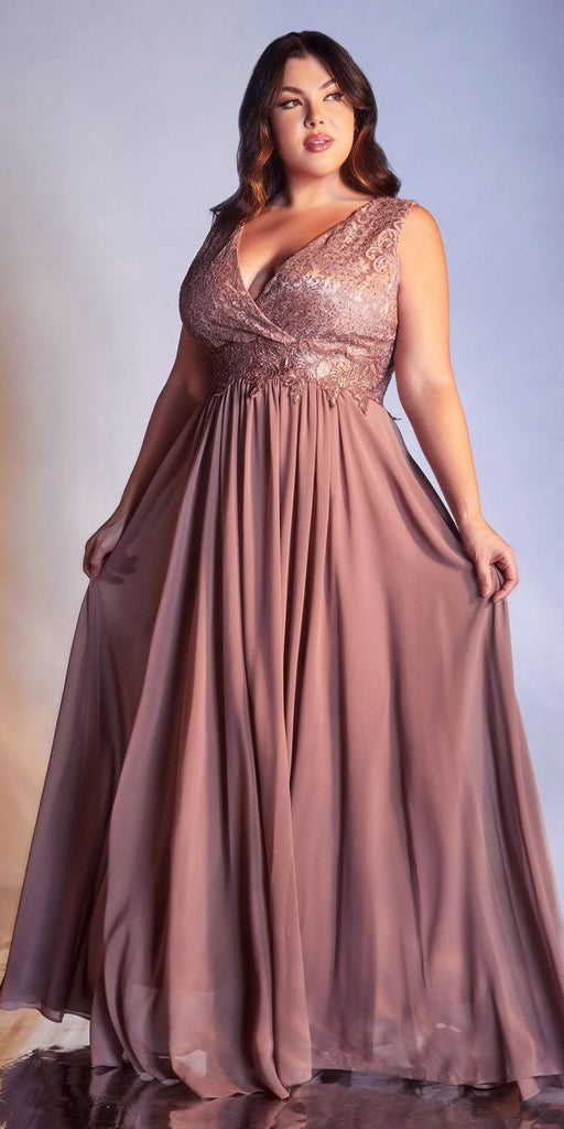 Cinderella Divine S7201 Long A-Line Chiffon Dress Mauve Lace Bodice Center Back Zipper