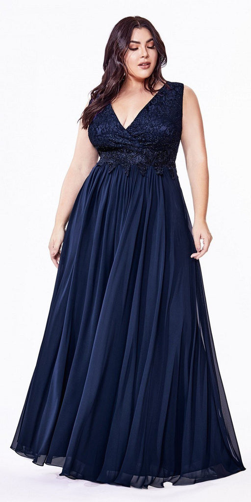 Cinderella Divine S7201 Long A-Line Chiffon Dress Navy Blue Lace Bodice Center Back Zipper