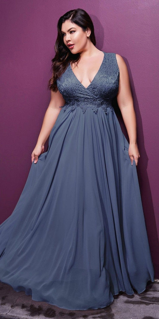 Cinderella Divine S7201 Long A-Line Chiffon Dress Smokey Blue Lace Bodice Center Back Zipper