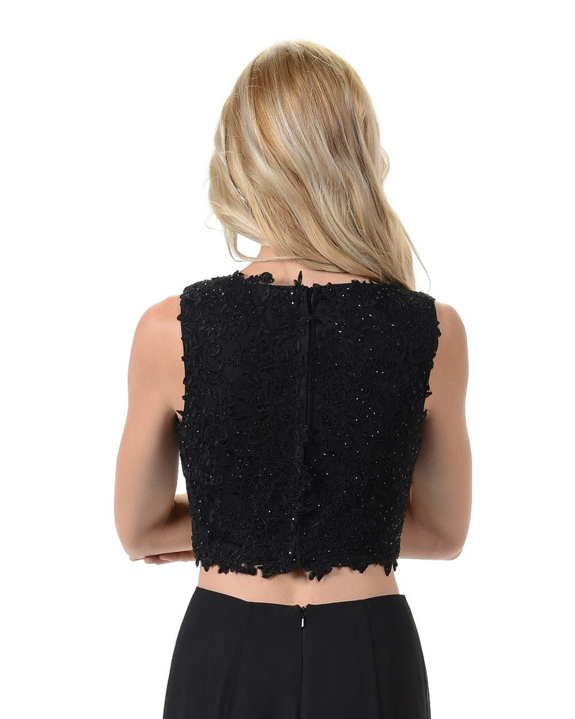 Poly USA T10 - Black Sleeveless Lace Crop Top Back View