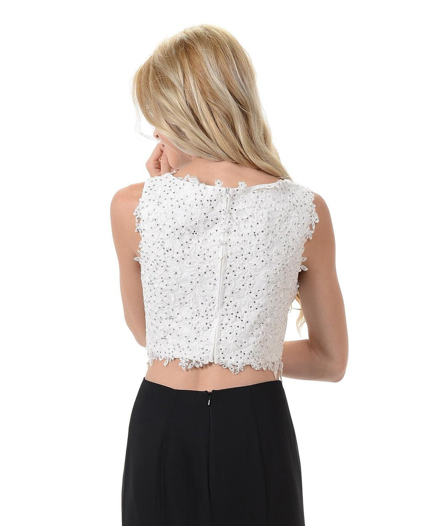 Poly USA T11 - Off White Sleeveless Lace Crop Top Back View