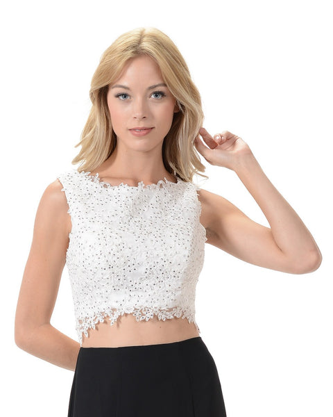 Poly USA T11 - Off White Sleeveless Lace Crop Top