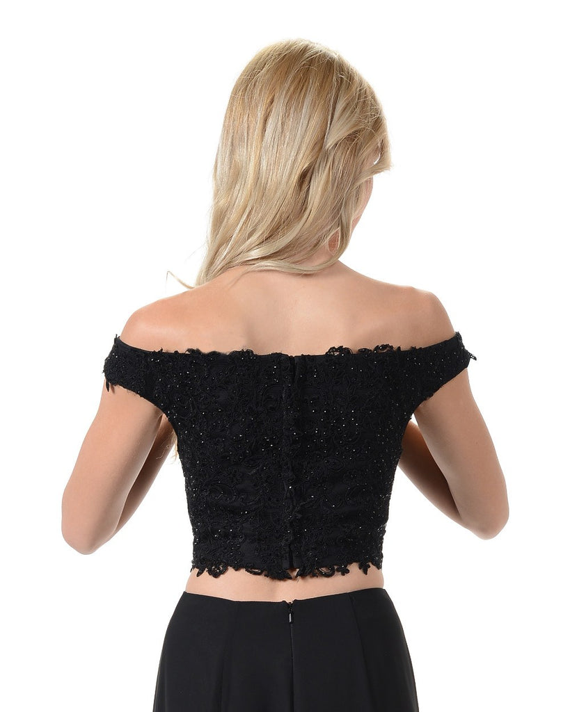 Poly USA T12 - Stunning Off The shoulder Lace Crop Top Black Back View