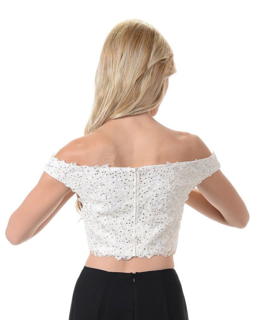 Poly USA T13 - Stunning Off The shoulder Lace Crop Top Off White Back View