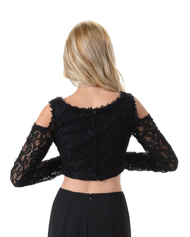 Poly USA T14 - Black Lace Cold Shoulder Crop Top With Long Sleeves Black View