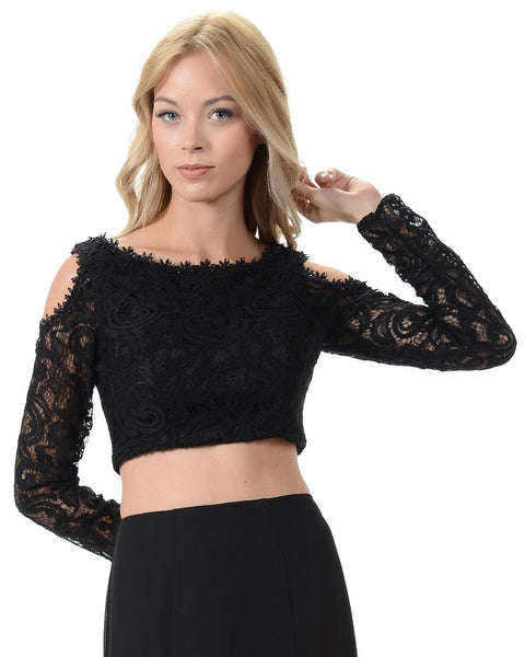 Poly USA T14 - Black Lace Cold Shoulder Crop Top With Long Sleeves