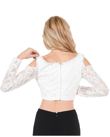 Poly USA T15 - Off White Lace Cold Shoulder Crop Top With Long Sleeves Back View