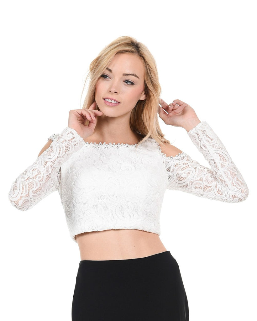 Poly USA T15 - Off White Lace Cold Shoulder Crop Top With Long Sleeves.