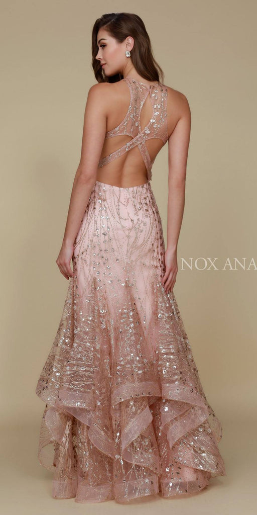 Nox Anabel T153 Long Halter Mermaid Gown Gold High End Look Back View